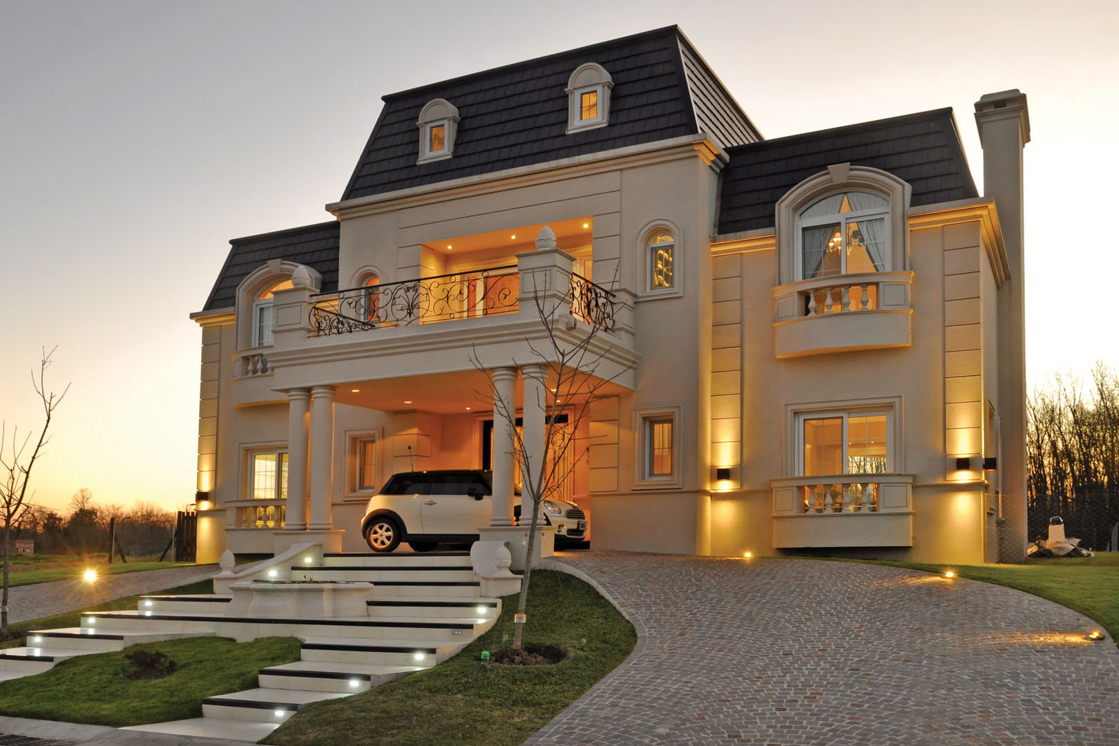 A r arquitectos casa estilo cl sico franc s for Entradas francesas