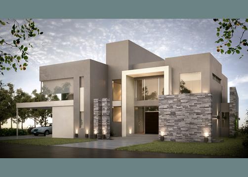 Inarch arquitectura construcci n casa estilo actual for Frentes para casas modernas