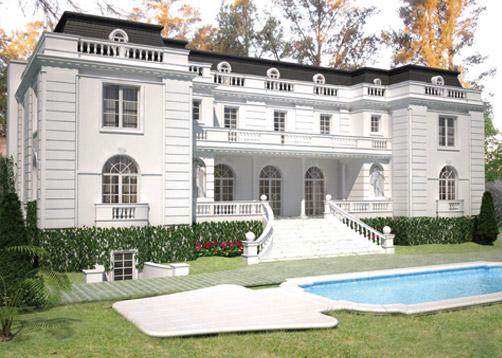 A rarquitectos casa estilo cl sico franc s portal de for Casa clasica country