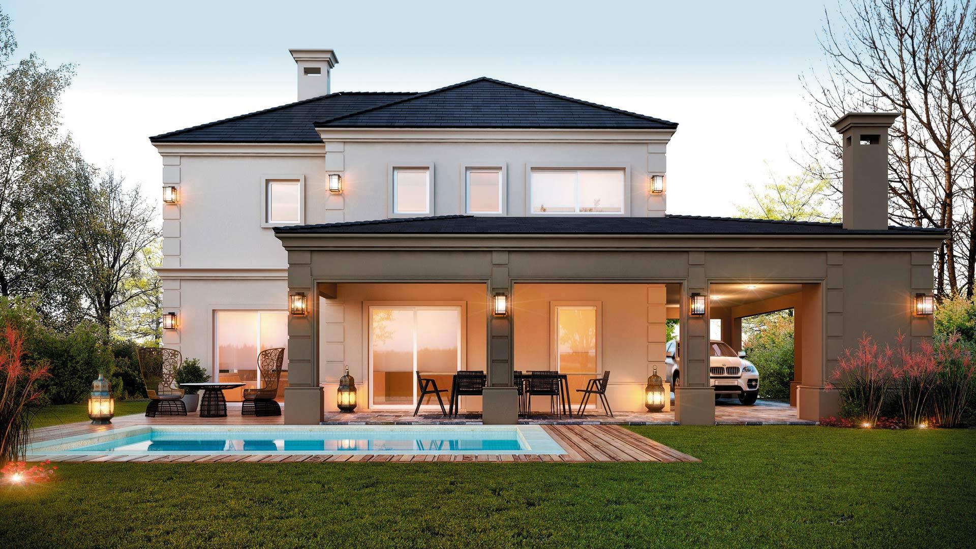 Estudio nf y asociados casa estilo cl sico moderno for Clasica y moderna entradas