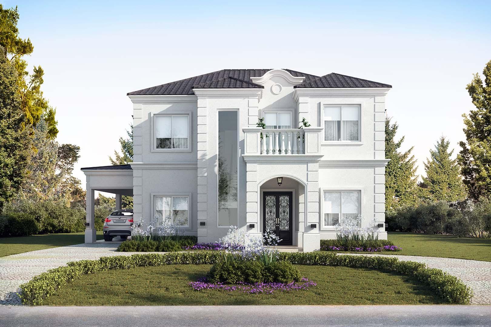 Estudio nf y asociados casa estilo neocl sico portal for Fachadas de casas clasicas